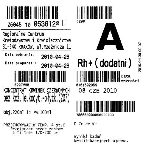 Oznakowanie krwi