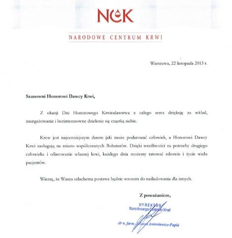 Życzenia od dyrektor Narodowego Centrum Krwi oraz PCK