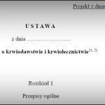 Projekt ustawy o krwiodawstwie i krwiolecznictwie