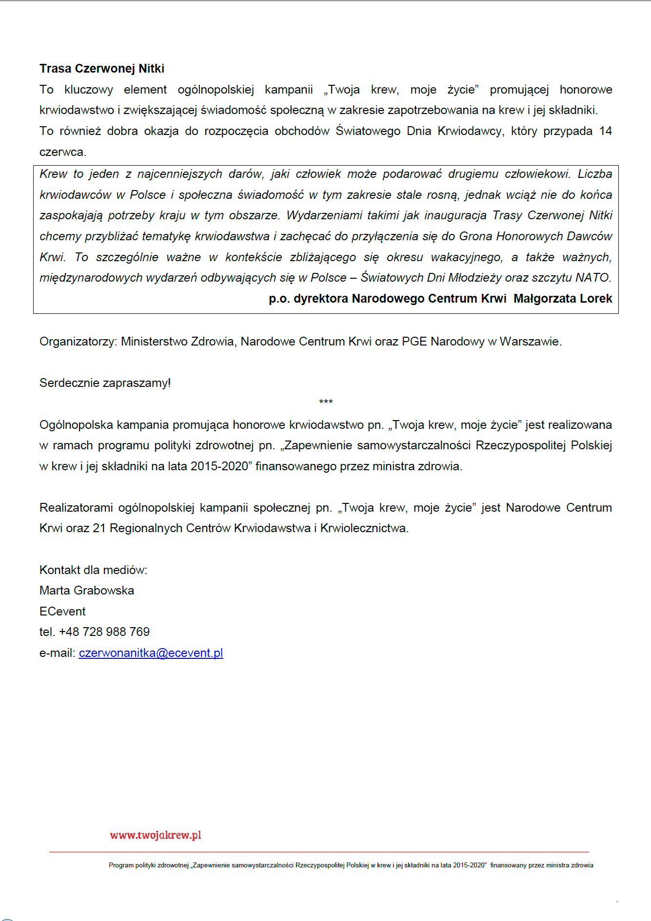 """Start """"Trasy Czerwonej Nitki"""""""