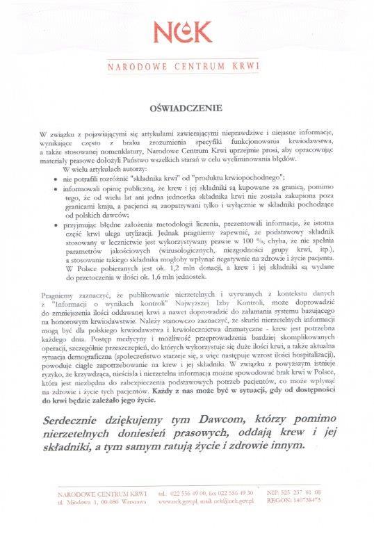 Oświadczenie Narodowego Centrum Krwi