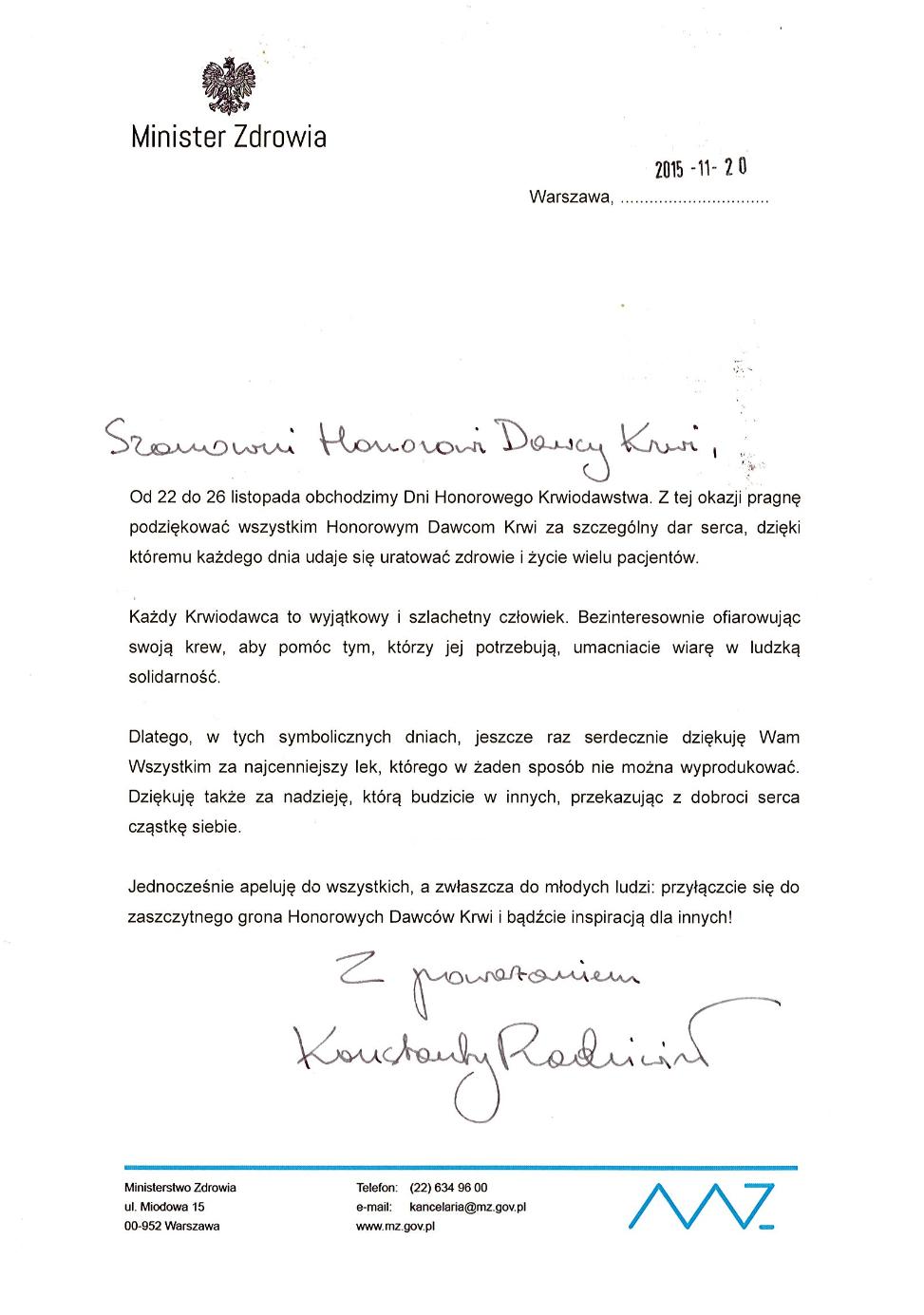 Życzenia z Ministerstwa Zdrowia z okazji Dni Honorowego Krwiodawstwa w 2015 roku
