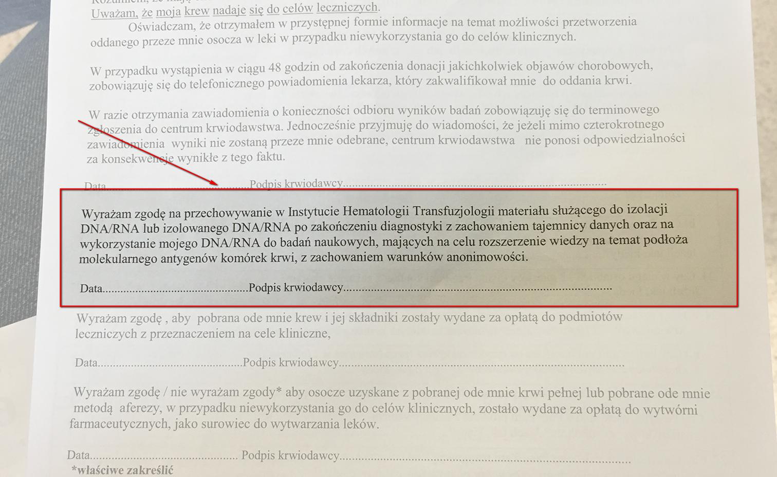 Zgoda na przechowywanie w Instytucie Hematologii i Transfuzjologii materiału służącego do izolacji DNA/RNA