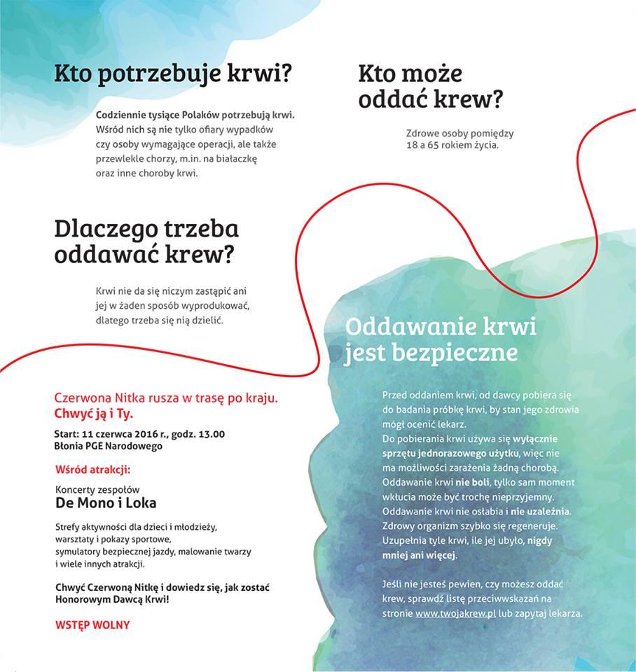 """Ulotka stworzona w ramach kampanii """"Czerwona Nitka"""""""