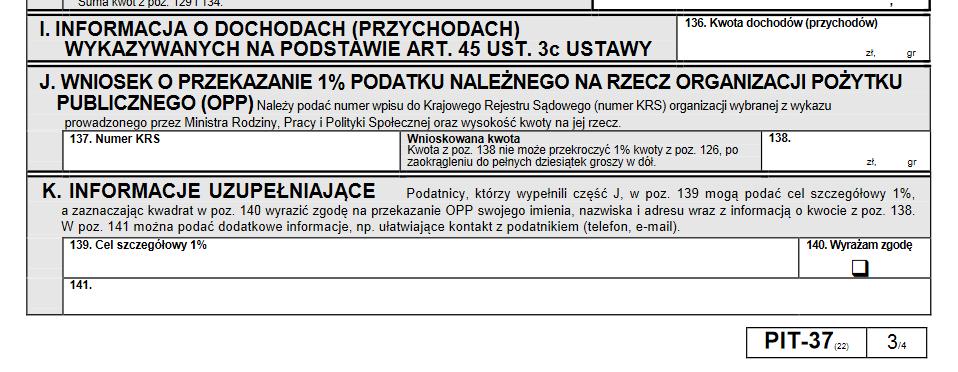 PIT-37 z zaznaczonym miejscem dla OPP