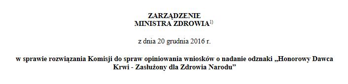 Zarządzenie rozwiązujące komisję do spraw opiniowania wniosków o odznakę HDK-ZdZN