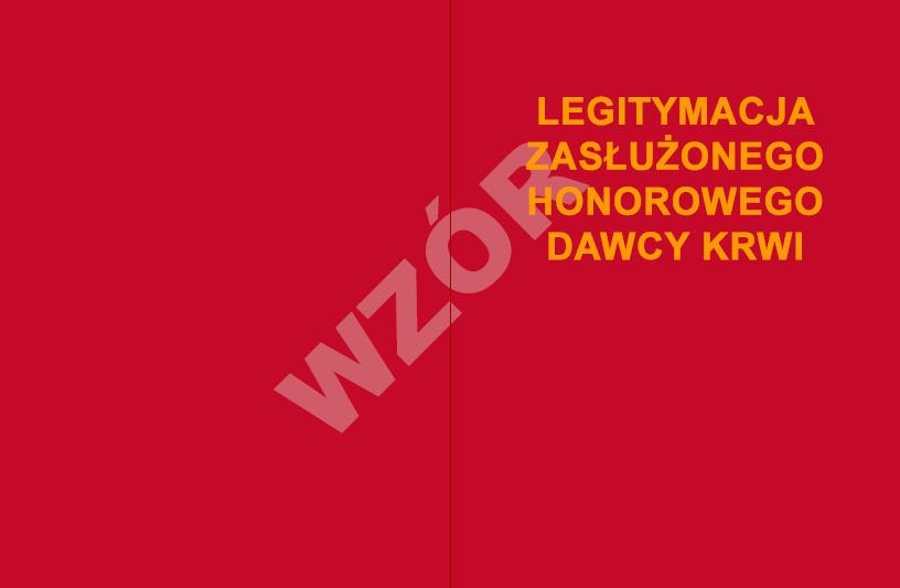 Okładka legitymacji Zasłużony Honorowy Dawca Krwi III stopnia