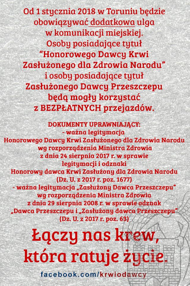 Stałe przejazdy komunikacją miejską w Toruniu dla HDK-ZdZN