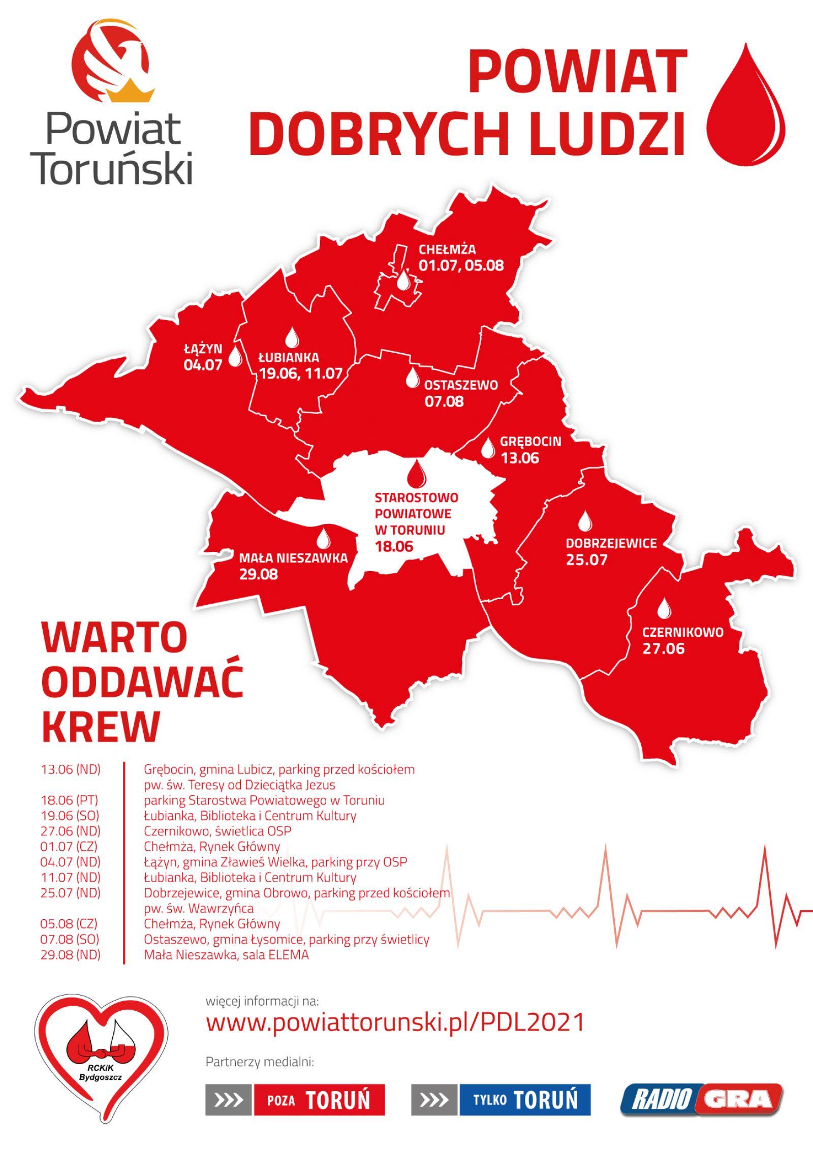 Mapka przedstawająca akcję krwiodawstwa w powiecie toruńskim